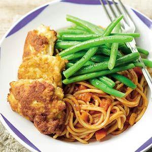 Recept - Gepaneerde kip met pasta en sperziebonen - Allerhande