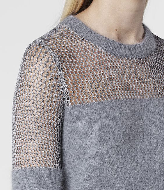 sweater / pointelle-stitched angora