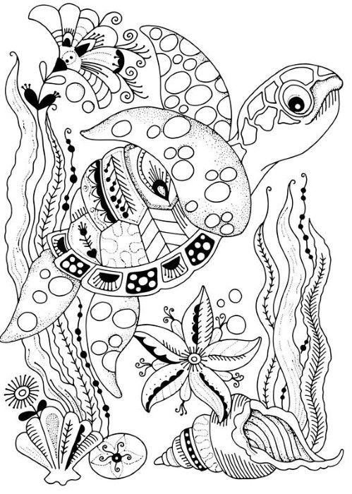 Underwater Sea Turtle Coloring Page Coloring Book