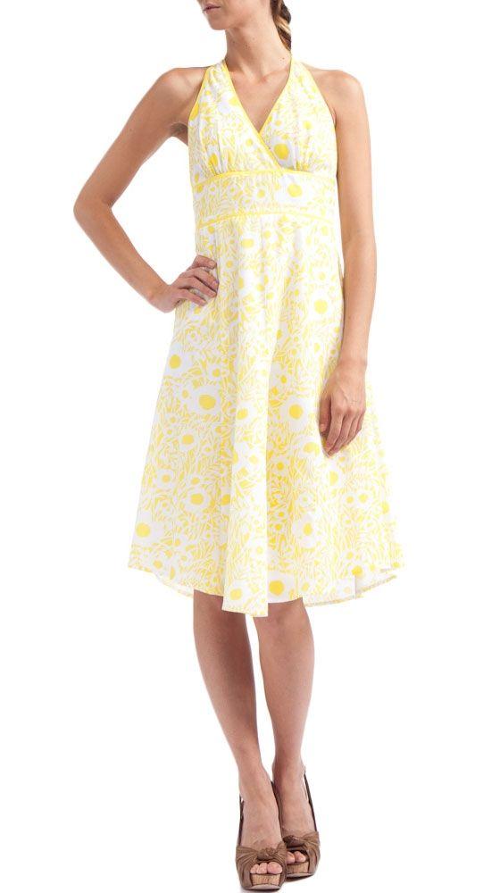 Lemon Floral Halter Dress.