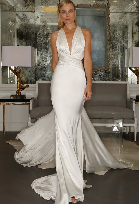Silk Halter Wedding Dress | Romona Kaveza Collection Fall 2015 | blog.theknot.com -repinned from Los Angeles County, CA wedding officiant https://OfficiantGuy.com