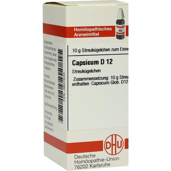 CAPSICUM D 12 Globuli:   Packungsinhalt: 10 g Globuli PZN: 03631534 Hersteller: DHU-Arzneimittel GmbH & Co. KG Preis: 5,19 EUR inkl. 19 %…