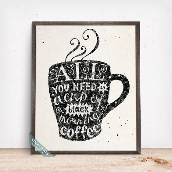 All You Need Is A Cup Of Coffee Print Typography by VocaPrints