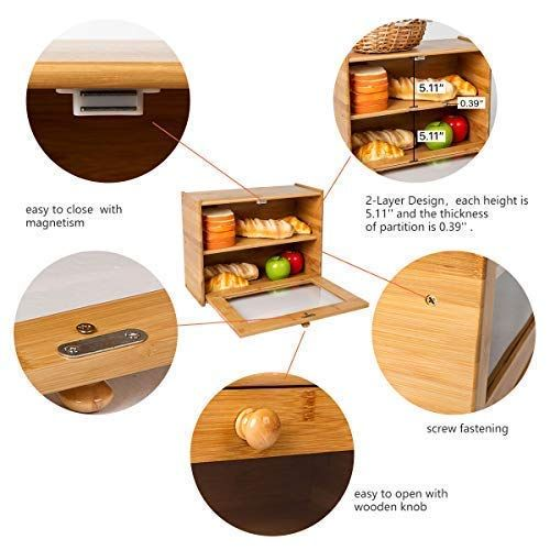 Amazon Com Indressme Bamboo 2 Layer Large Capacity Bread Box