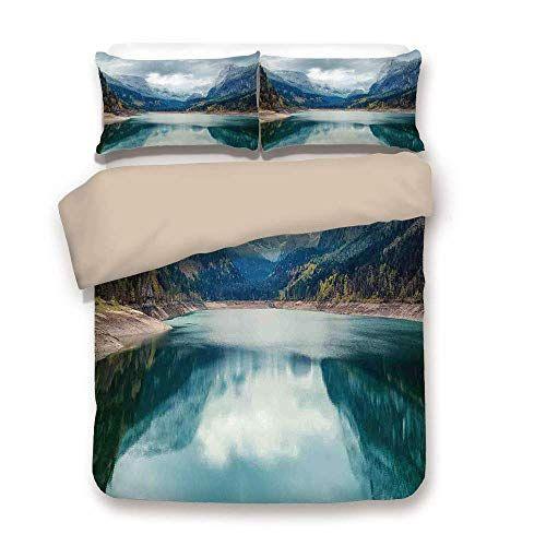 Duvet Cover Set Back Of Khaki Lake, Lake House Queen Bedding