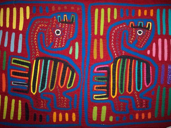 Kuna Tribe Dancing Swan Bird Mola Panama San Blas-12.57612