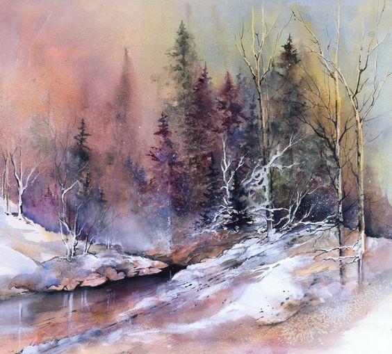 Watercolor landscape watercolour for Pinterest aquarell