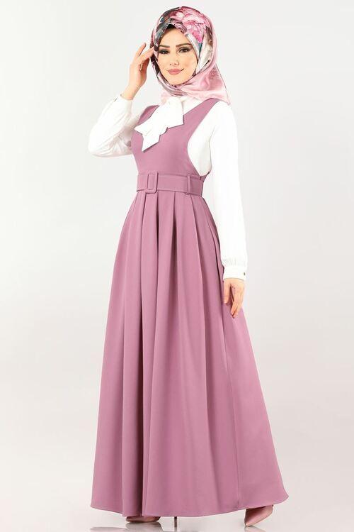 Modaselvim Elbise Pileli Kemerli Jile 607mr257 Gul Kurusu Elbise Elbise Modelleri Kiyafet