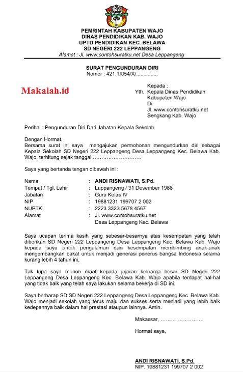 Contoh Surat Pengunduran Diri Pengurus Rt - Kumpulan ...