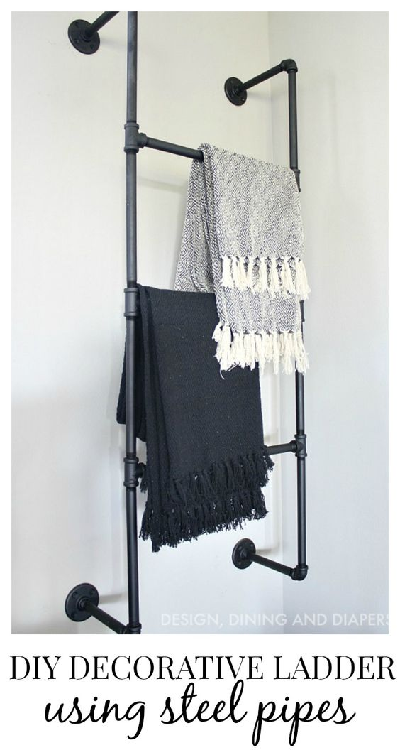 Bathrooms decor industrial and blanket ladder on pinterest for Bathroom decor ladder