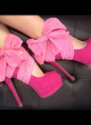 Pink Bow High Heel Shoes. They look like High heel ballet shoes