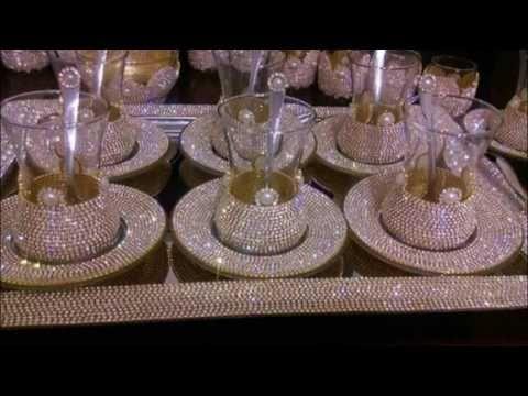تزيين صحون الحلوى من برنامج فن و إبداع للسيدة أمال أيت عيسى Samira Tv Youtube Gold Christmas Tree Decorations Wedding Glasses Tea Party