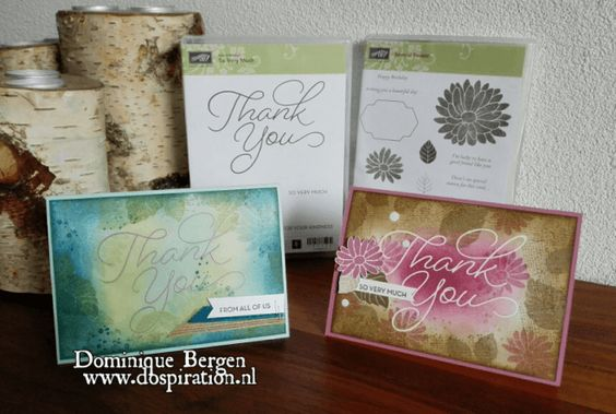 stampin up special reason, so very much, sale-a-bration, gratis, stempels, mixed media, techniek, thank you notes, heat embossing, dospiration