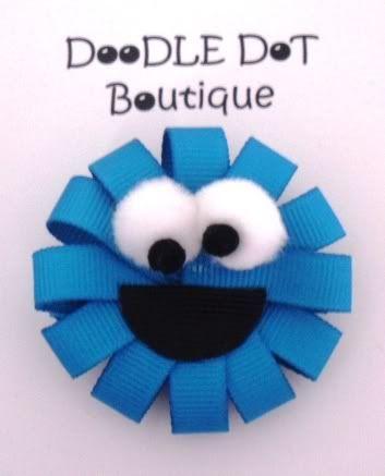 DoodleDotBoutique : Sesame Street Cookie Monster Hair Bow Infant Toddler