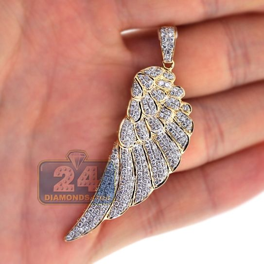 Mens Diamond Angel Wing Pendant Solid 14k Yellow Gold 1 72ct Angel Wing Pendant Pendants Gold