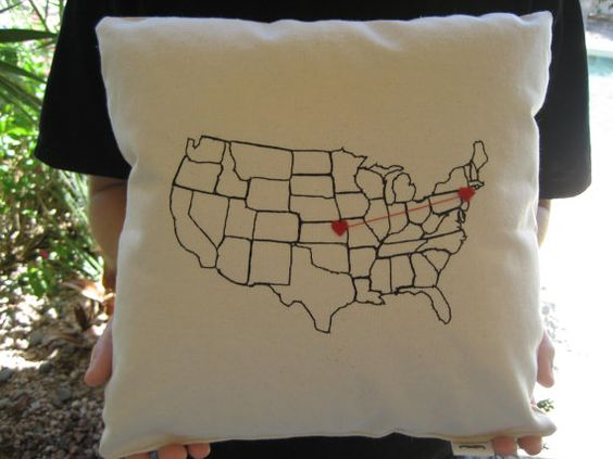 Personalized Valentine Heart Strings Map Pillow for Valentines Day Gift Mother Sister Best Friend Girlfriend Boyfriend