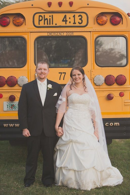 Bride,Groom School bus pic :)