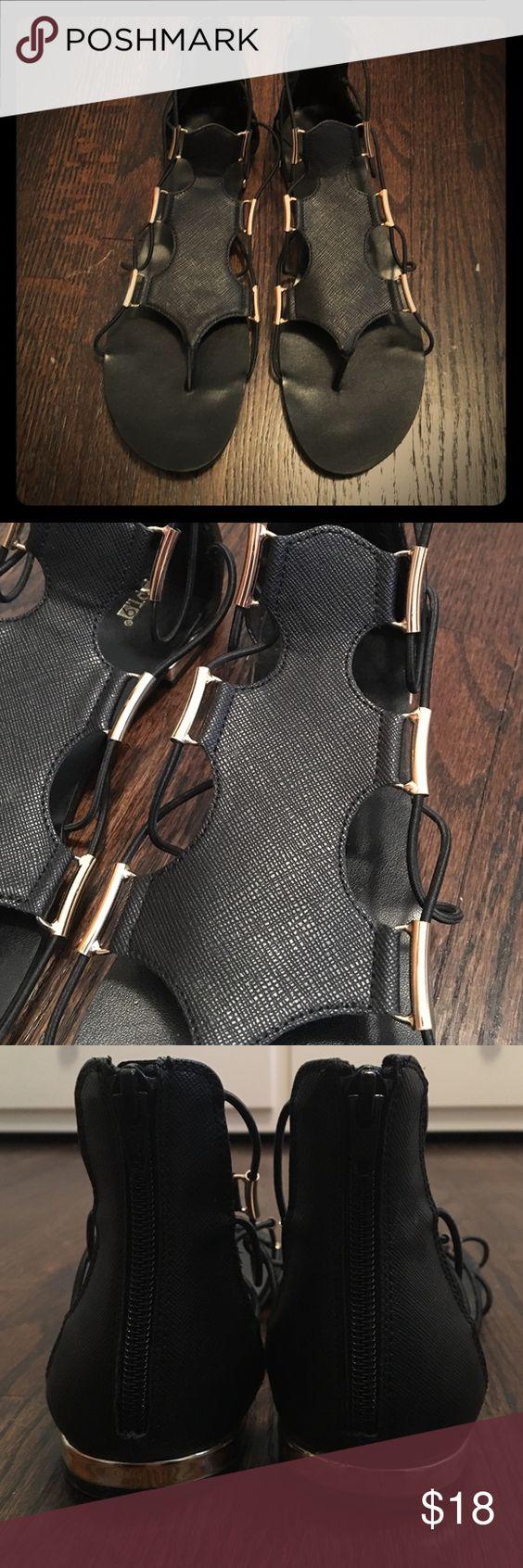 Black sandals gold bar - Apt 9 Black Gladiator Sandals Excellent Condition Worn One Time Gold Bar Detailing On