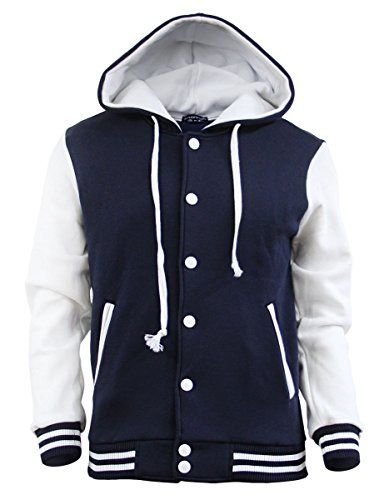 BCPOLO Men&39s Letterman Hoodie Baseball Jacket Sweatshirt warm