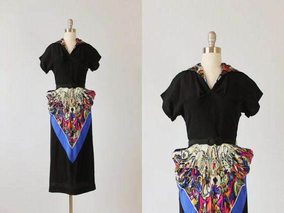 1940s Dress / 40s Rayon Dress / Jean Peltier by TheVintageMistress, $324.00