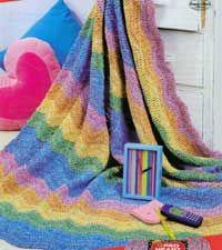 Rainbow Days Afghan | AllFreeCrochetAfghanPatterns.com: Afghans Throws, Crochet Afghans, Afghans Bedspreads, Ripple Afghan, Blankets Afghans, 14 Rainbows, Afghans Videos, Easy Afghans, Free Crochet Afghan Patterns