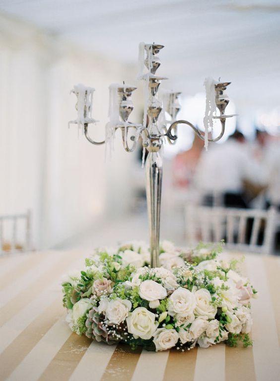 Candelabra centerpieces and wreaths on pinterest