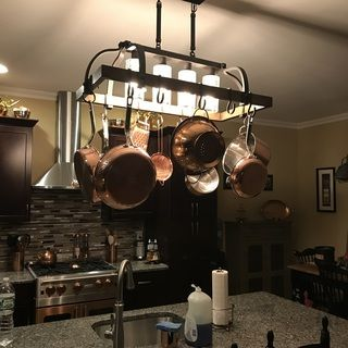 Eldrige 36 1 2 Wide 4 Light Bronze Pot Rack Chandelier 1g905 Lamps Plus Rustic Kitchen Kitchen Island Furniture Pot Rack
