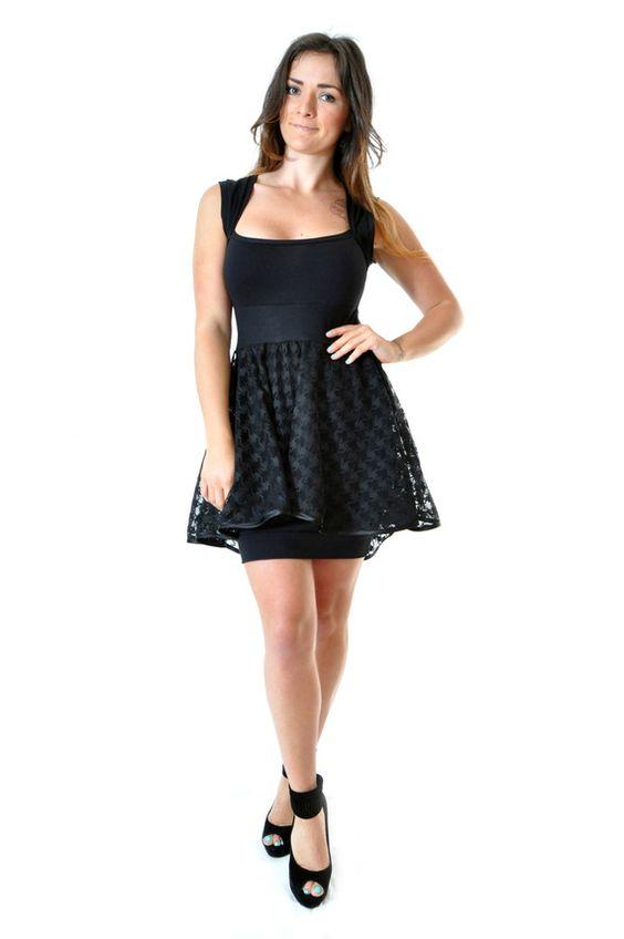 Robe courte sweetheart en coton et dentelle noir dress skirt black