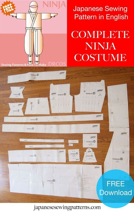 Free Ninja costume cosplay sewing pattern! The authentic pattern ...