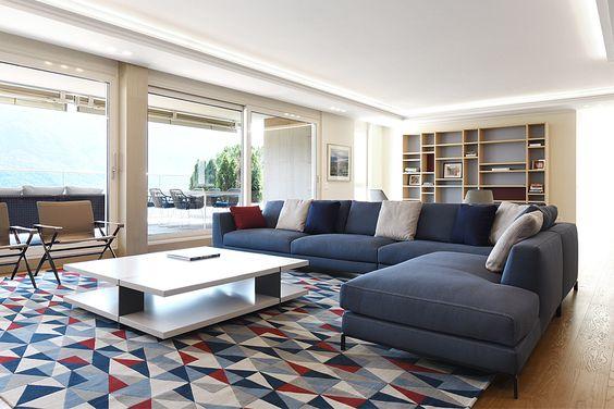 Progetto di arredo soggiorno design - divani B&B Italia - poltrone ...