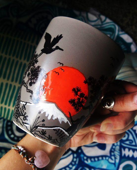 Japan Coffee Mug Painted Coffee Mugs Hand Painted Mugs