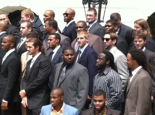 Packers at the White House.... Aaron Rodgers with sunglasses on... one of the few
