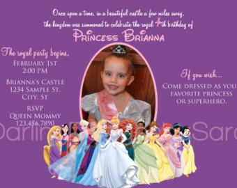 Disney Princesses Birthday Photo Invitation INCLUDING Princesses from FROZEN Elsa & Anna