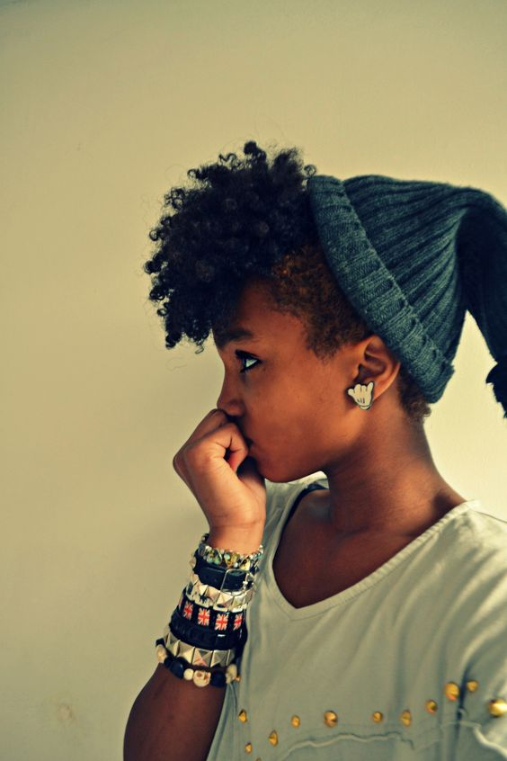 odd-lezz:    mindyabiness:    naturalhumbleafrican:    no this is dope    i want those earrings so bad tho.    <3333333: Hair Styles, Winter Protective Hairstyles, Hair Beanie, Natural Hair Mohawk, Beanie Hairstyles Natural, Natural Black Girl Hairstyles, Natural Hairstyles, Curly Hair, Mohawk Twist