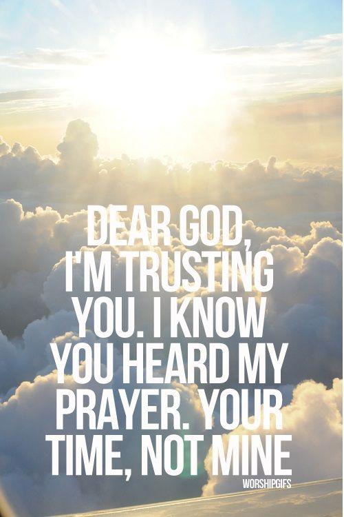 Dear God, I'm trusting You. I know You heard my prayer, Your time, not mine. #faith #god #time  In His Time!  FAITH!