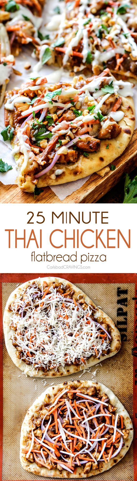 CPK inspired 25 Minute Thai Chicken Flatbread Pizza smothered in easy tangy peanut sauce, tender chicken, mozzarella cheese, crunchy carrots, sprouts and peanuts and the option of creamy coconut yogurt drizzle - an amazing flavor bursting quick dinner at a fraction of the cost.
