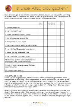 """Die Checkliste zum Artikel """"Ist unser Alltag bildungsoffen"""" - www.kinderbilden.com"""