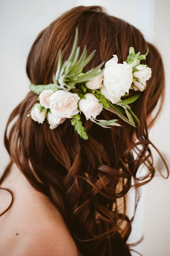 Green and white partial floral crown | JBM Photography: