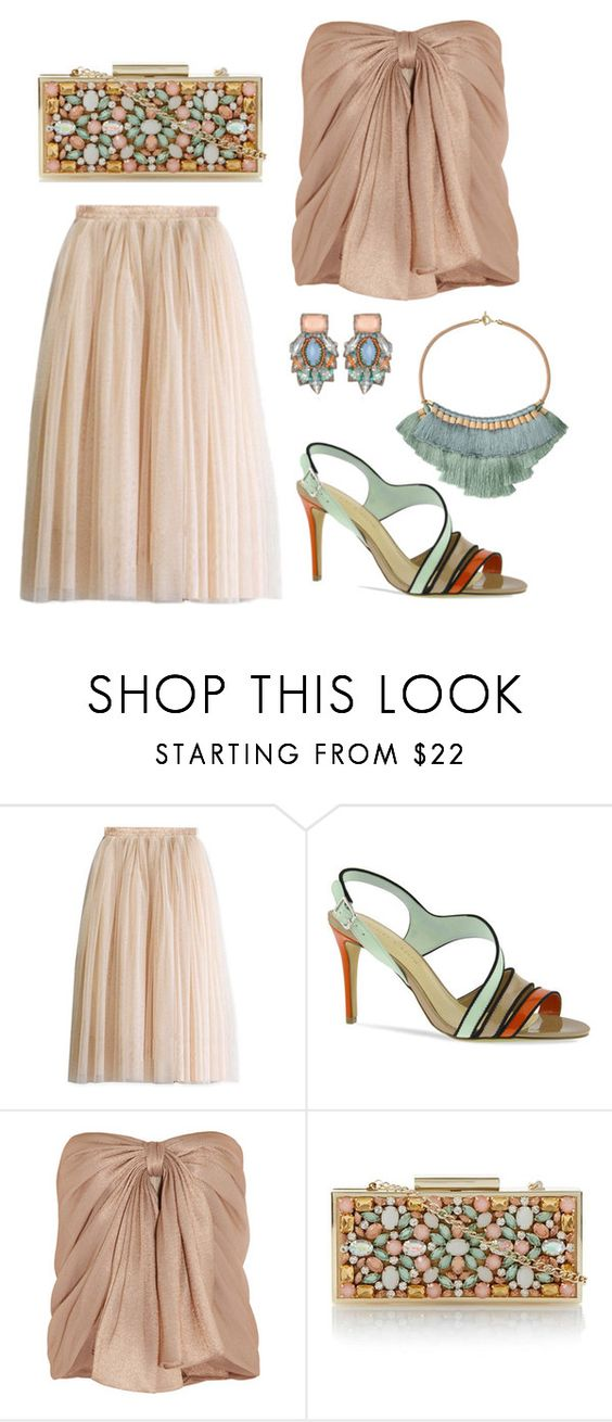 """""""Can' t Get Enough of Pastels"""" by bysc ❤ liked on Polyvore featuring CHARLES & KEITH, Jason Wu, Dune, dressy, skirt, tops and bag"""