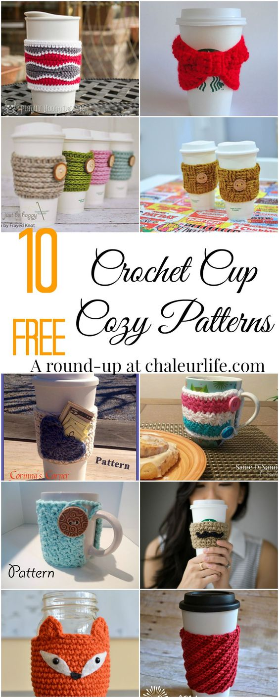 10 Free Crochet Cup Cozy Patterns.  Perfect for a quick and easy DIY Christmas gift!: