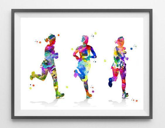 Running girls watercolor print three girlfriends by MimiPrints
