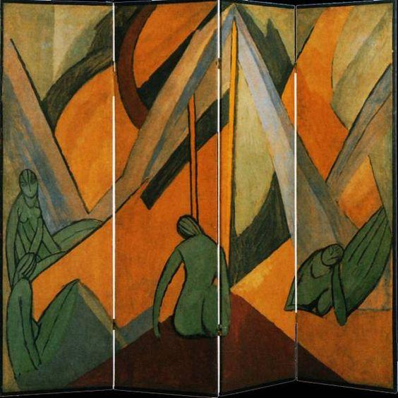 1913-1914 Vanessa Bell Baigneurs dans un paysage Paravent Londres, Victoria and Albert Museum •