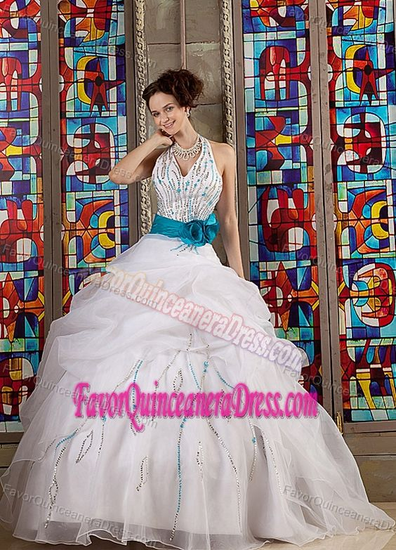 Halter Sequin White Organza Quinceanera Dresses with Pick-ups and Teal Flowers