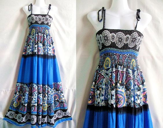 Sea blue maxi dress