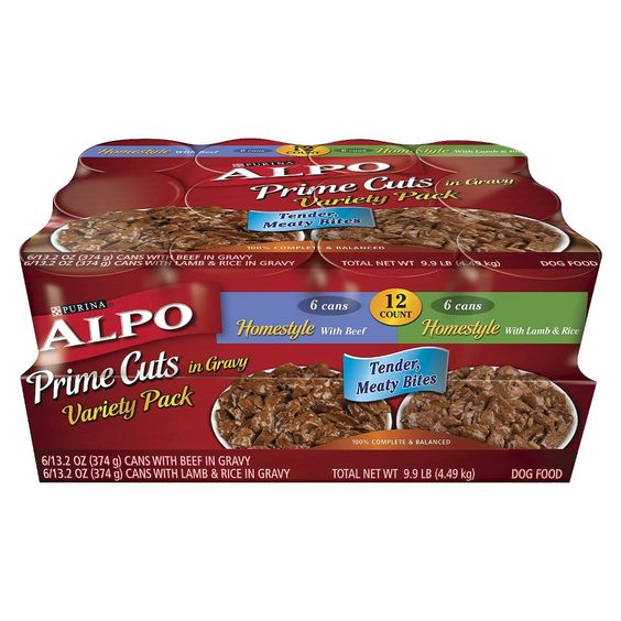 Alpo Homestyle Prime Cuts in Gravy Variety pack Wet Dog Food 13 oz cans, 12 pack
