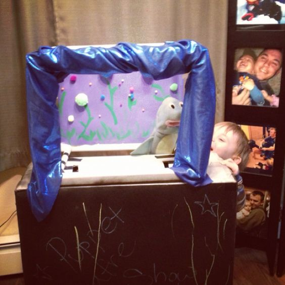 Made a puppet theatre- used chalkboard paint on cardboard so the kids can decorate it ;)