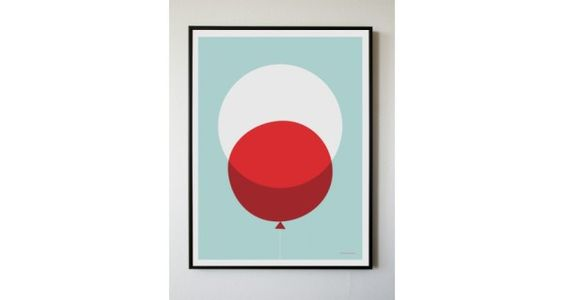Red Balloon Print by Becky Hui Chan. Love the simplicity, the colors.
