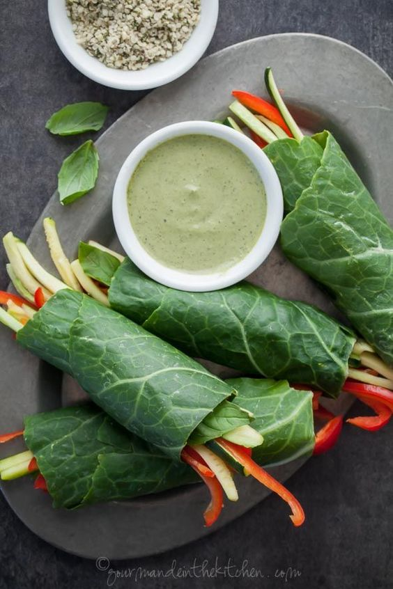 Collard Vegetable Wraps with Creamy Basil Hemp Seed Sauce on gourmandeinthekitchen.com: