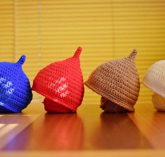 """Towards Spring """" acorn hat """" I was knitting  春に向けてどんぐり帽子編んでみましたとっても可愛いからたくさん作っちゃったベビ友にあげちゃお phot mutea33 by yukkoba33"""
