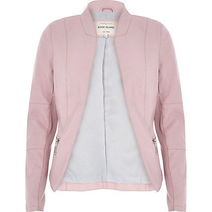 Pale pink leather-look fitted jacket €65.00 | Fashion | Pinterest